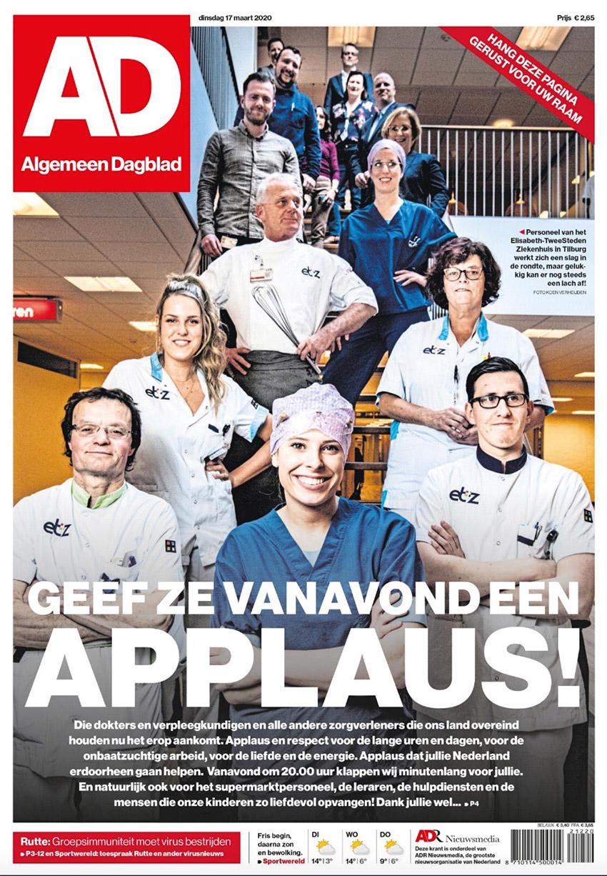 Voorpagina van AD met oproep om te applaudisseren voor zorgverleners