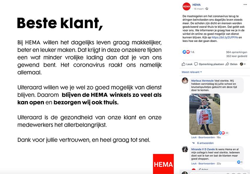 Content van Hema: deelt op Facebook hoe ze omgaan met het coronavirus
