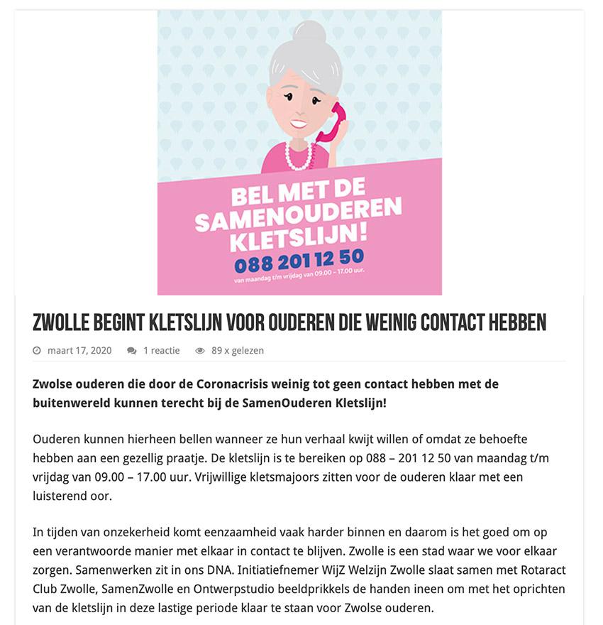 Content van de kletslijn In Zwolle: die is opgericht voor ouderen die weinig contact hebben