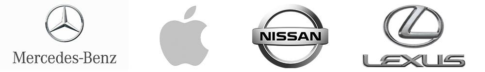 Grijze logo's - Mercedes-Benz - Apple - Nissan - Lexus
