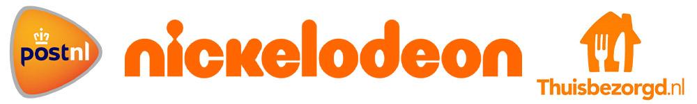 Oranje logo's - postnl - Nickelodeon - Thuisbezorgd.nl